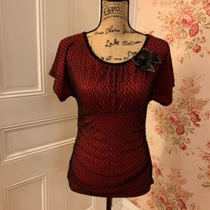 A Byer Red and Black Lace Blouse